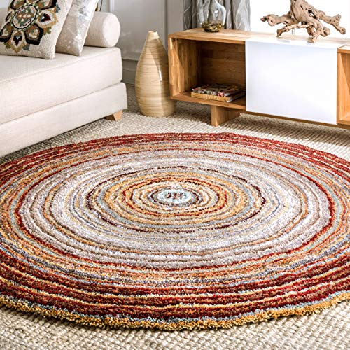 nuLOOM HJZOM1D Hand Tufted Classie Shag Rug, 6' Round, Red ()