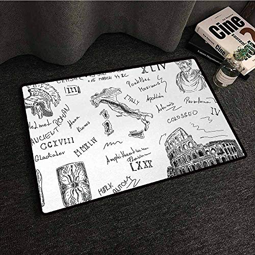 DILITECK Entrance Door mat Toga Party Ancient Roman Period Icons Caesar Colosseum Gladiator and Map Sketch Art Antifouling W16 xL24 Black and White ()