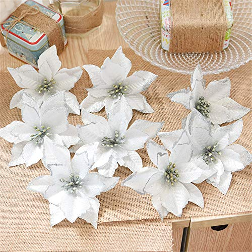 Euone  Christmas Flowers Clearance , 8Pcs Artificial Fabric Flower Glitter Wedding Party Decor Christmas Xmas Tree Decoration (Silver)