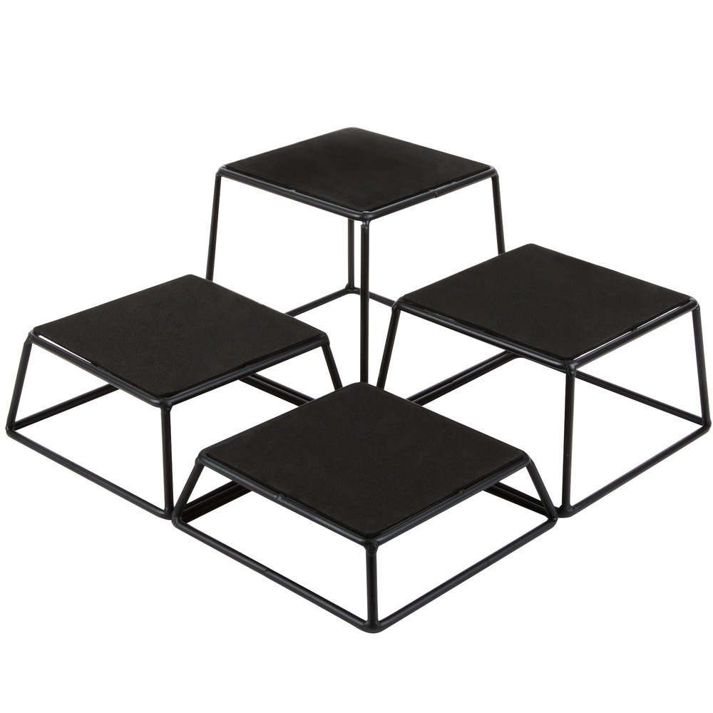 Tablecraft BKR4 Square 4-Piece Riser Set - 7'' x 6''