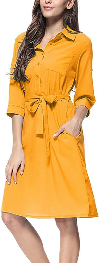 Mujer Vestidos De Trabajo Verano Casual Botón Abajo Camisa ...