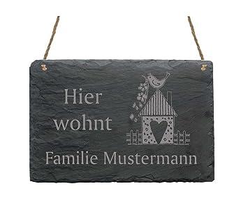 Schiefertafel « Hier wohnt Familie -IHR NAME- » mit MOTIV ...