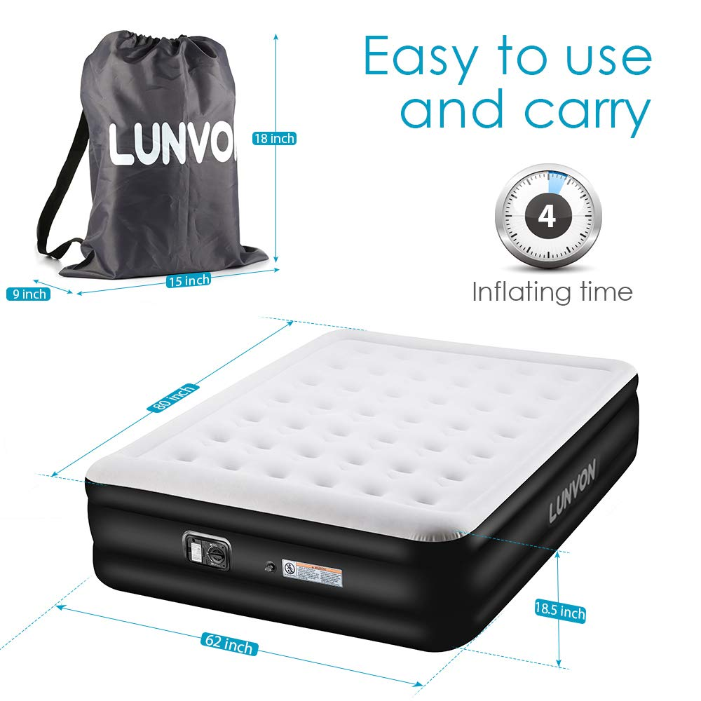 Air Mattress Blow Up Elevated Raised Airbed Inflatable Beds with Built-in Electric Pump Storage Bag and Repair Patches Included Lunvon Upgraded Queen Size Double Air Bed Gray