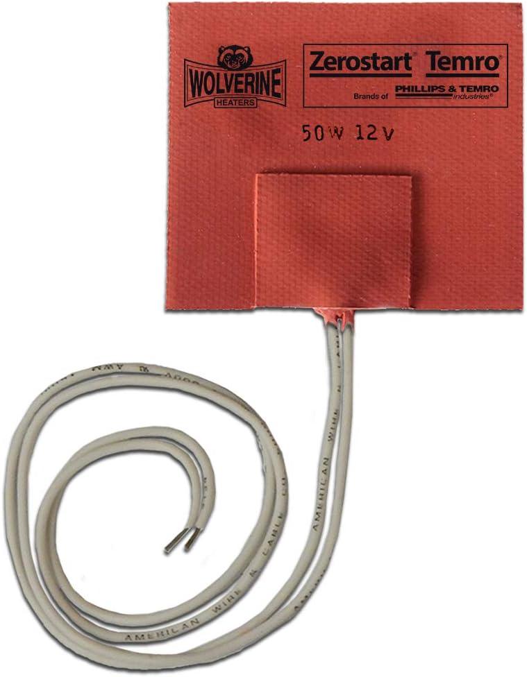 "Zerostart 3400051 Silicone Pad Heater Small Reservoir and Hydraulic Fluid Heater, 3"" x 3"" | 12 Volts | 50 Watts"