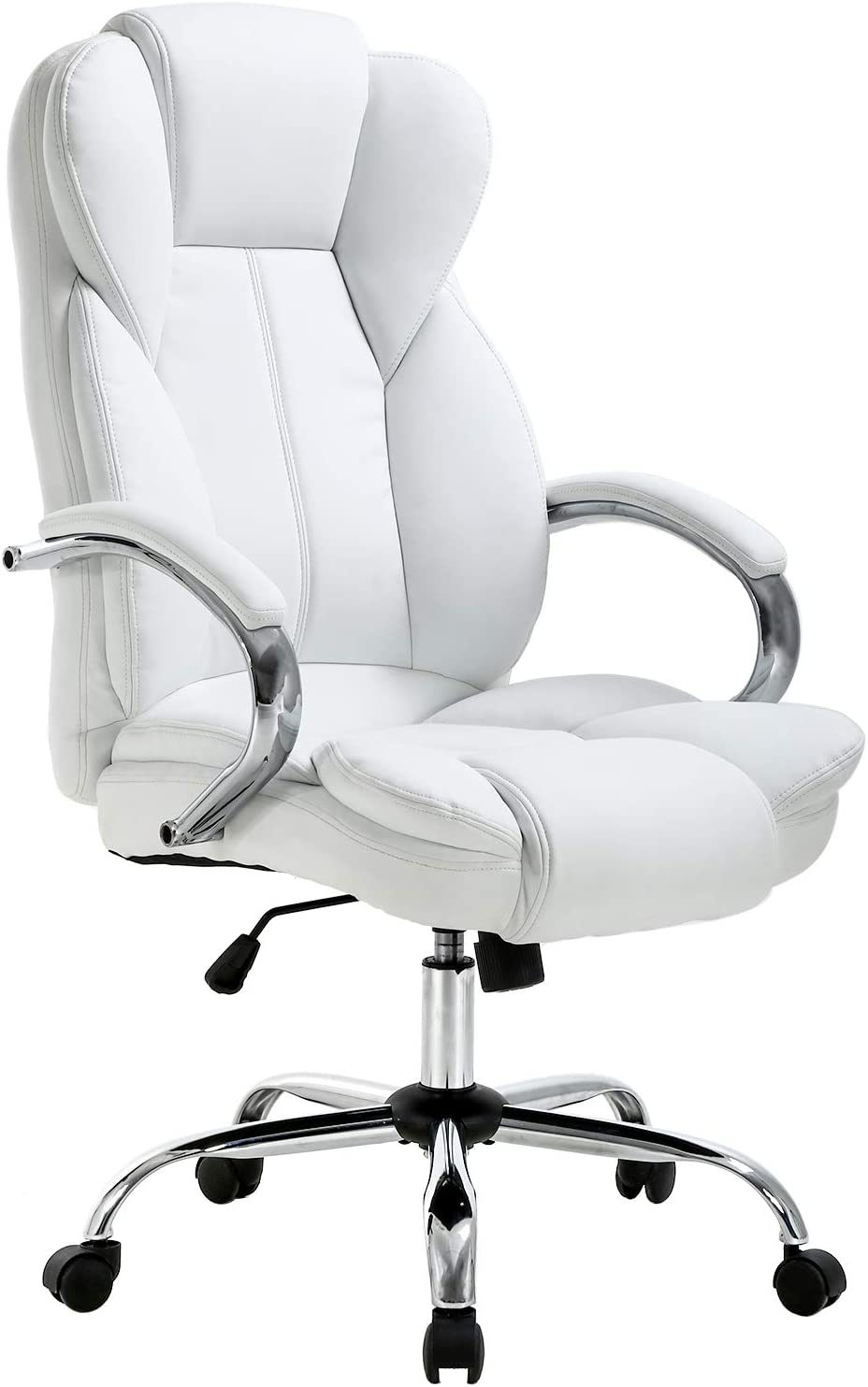 Ergonomic Office Chair Desk Chair PU Leather Computer Chair Executive  Adjustable High Back PU Leather Task Rolling Swivel Chair with Lumbar  Support