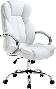 Amazon Com Ergonomic Office Chair Cheap Desk Chair Pu Leather Computer Chair Executive Adjustable High Back Pu Leather Task Rolling Swivel Chair With Lumbar Support For Women Men White Furniture Decor
