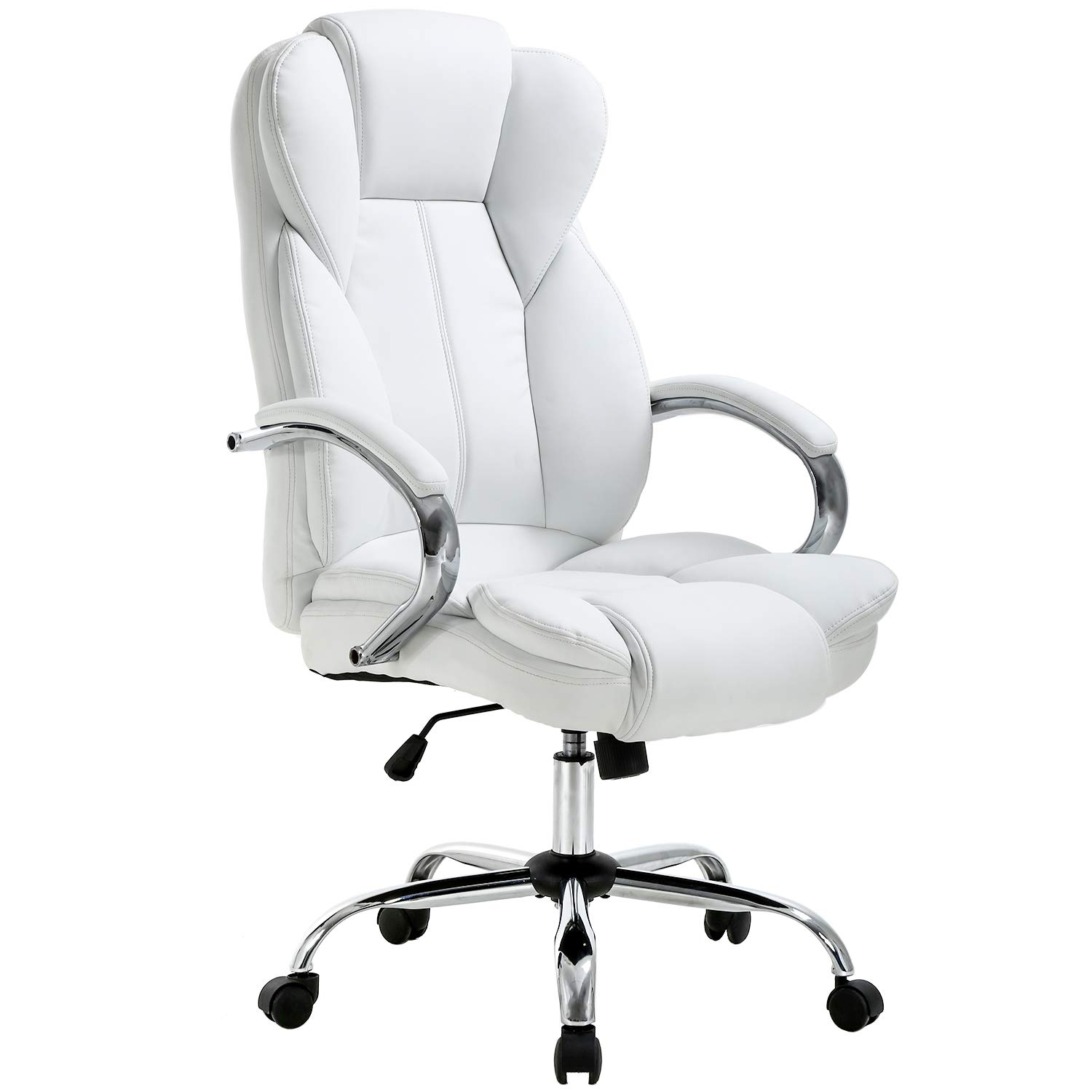 Ergonomic Office Chair Desk Chair PU Leather Computer Chair Executive Adjustable High Back PU Leather Task Rolling Swivel Chair with Lumbar Support for Women Men, White by BestOffice