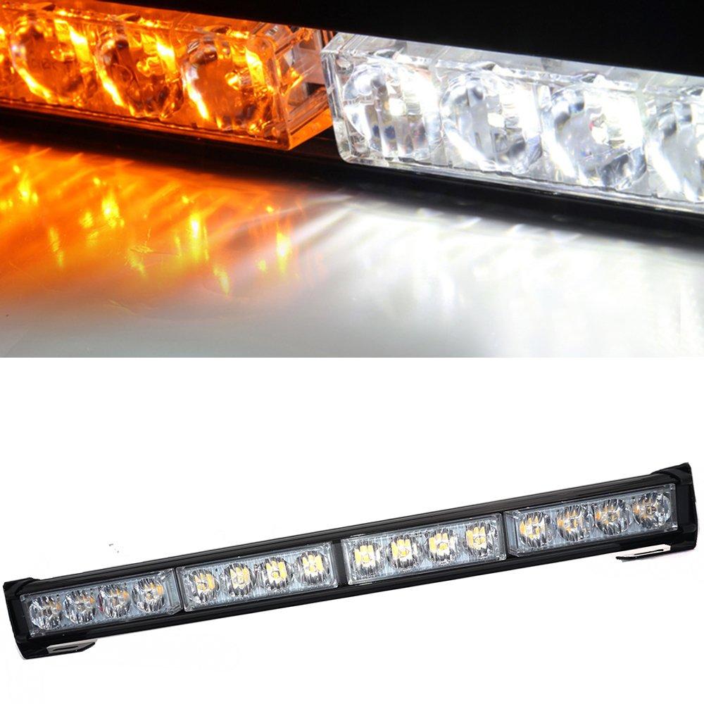 Linchview 7 Modus Auto Einsatzfahrzeug Blitzleuchte 16W 45cm Warnleuchten Strobe Bar Autolampe LED (Gelb-Weiß )