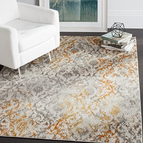 Safavieh Madison Collection MAD608K Cream and Orange Bohemian Chic Distressed Area Rug 4 x 6