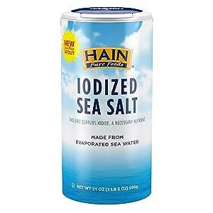 Hain Pure Foods Iodized Sea Salt, 21 Oz