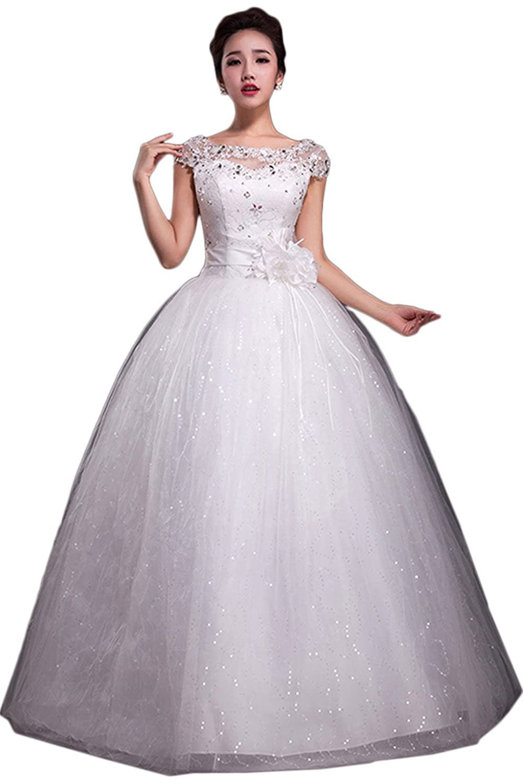 Brautkleid Gã¼Nstig Online Kaufen   Gorgeous Bride Hochwertig Rundkragen A Linie Lang Satin Tull Spitze
