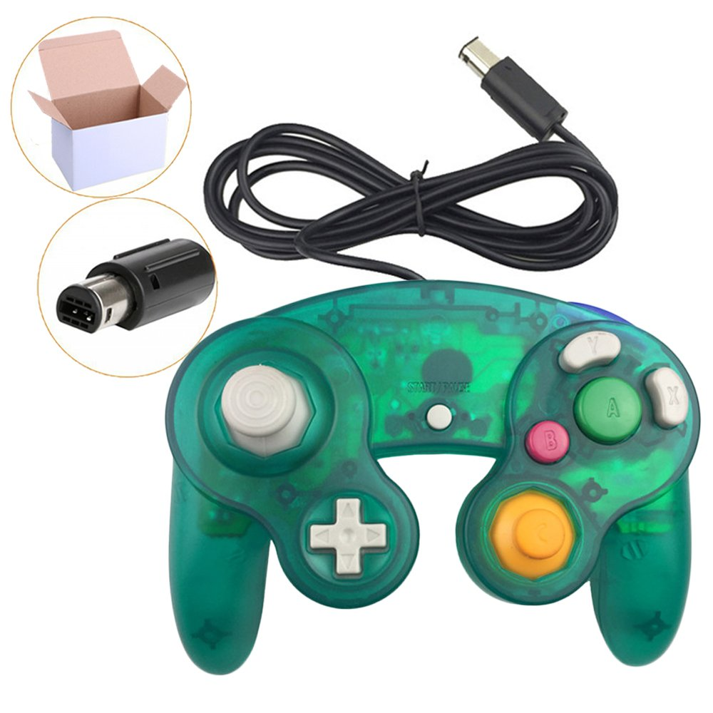 Poulep 1 Pack Classic Wired Gamepad Controller For Wii Game Cube Logitech F310 Gamecube Console Deep Green