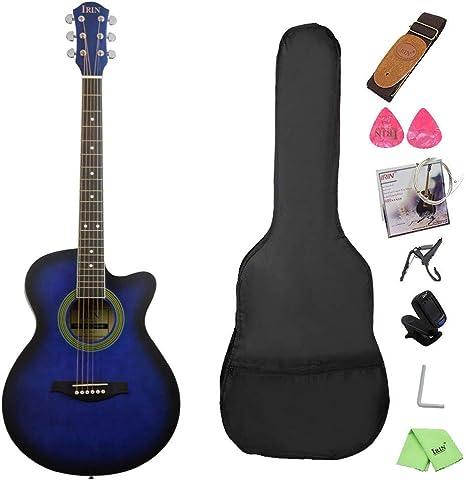 Guitarra Folk Estudiante Azul Enseñanza Guitarra de Madera perdida ...
