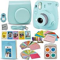 Fujifilm Instax Mini 9 Instant Fuji Camera (ICE Blue) + Paquete de accesorios + Estuche a juego personalizado con correa para el cuello + Álbum de fotos + Marcos variados + 4 Filtros de color + 60 Marcos adhesivos + Más