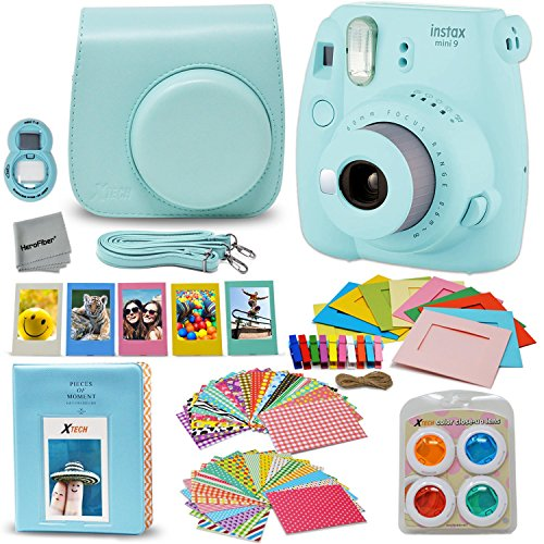 Fujifilm Instax Mini 9 Instant Fuji Camera (ICE BLUE) + Accessories Bundle + Custom Matching Case w/Neck Strap + Photo Album + Assorted Frames + 4 Color Filters + 60 Sticker Frames + MORE