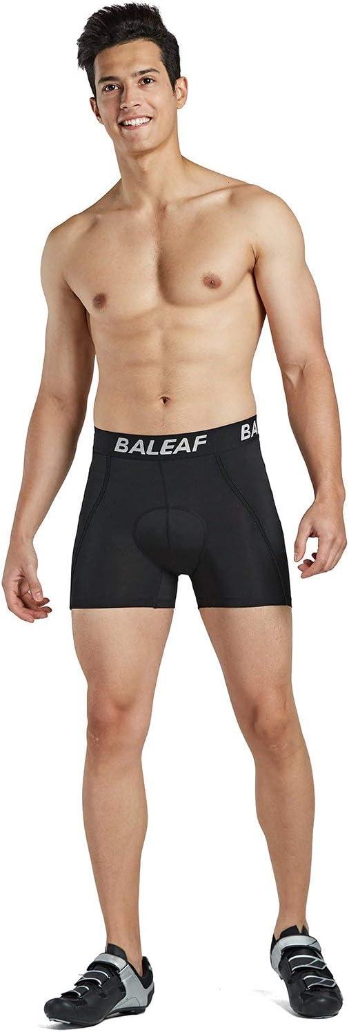 BALEAF Herren Fahrradhose Kurz Gepolstert Atmungsaktive Fahrradunterhose Coolmax 4D Gel Sitzpolster Grau S