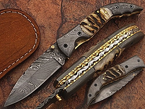 Custom made damascus blade one of a stunning folding knife 5073
