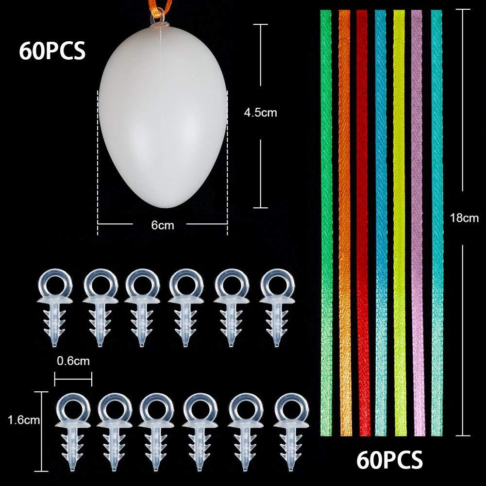 VGOODALL 60 Ostereier, 6 cm Dekoeier Plastikeier Eier mit 60 Aufhänger, 10 Schaschlik-Spieße, 20g Osterei Deko-Gras für Ostern Zum Basteln