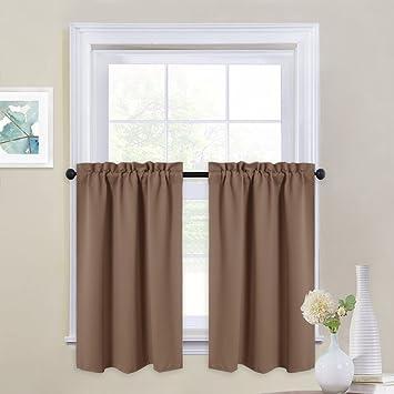 Amazoncom Nicetown Window Treatment Tier Curtains Rod Pocket