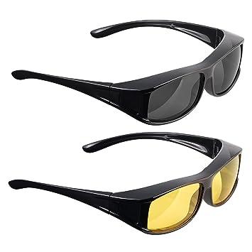 infactory Überziehbrille Damen: Schärfer-Sehen-Set mit 2 Überziehbrillen Day Vision & Night Vision (Überbrille) BGXWGJ