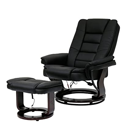 Peach Tree Contemporary Leather Lounge Swivel And Massage Recliner Chair  With Foot Stool Ottoman (Black