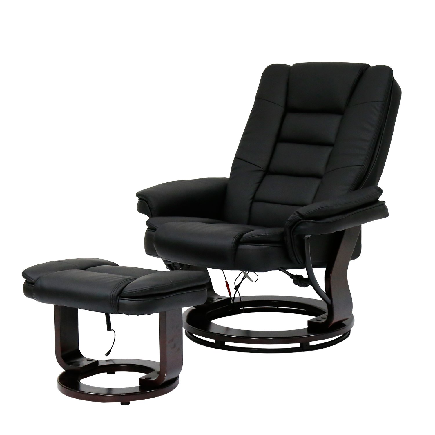 Kinbor PU Leather Massage Chair Recliner Ottoman w/ Control, 8 Heat & Massage Modes (black)