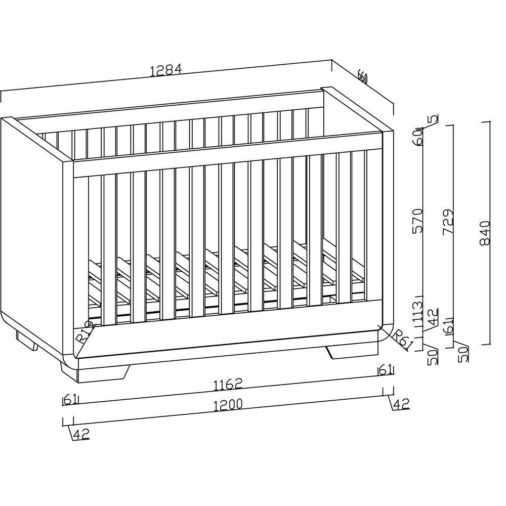 Babybett aus der Serie Yves Hochglanz 70cm x 140cm: Amazon.de: Baby