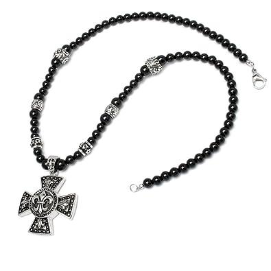 5f0e734a2801 Herren Halskette Perlen Bead Kette schwarz Kreuz Lilie Edelstahl Mensbead  Achat Onyx hochwertig Bikerschmuck