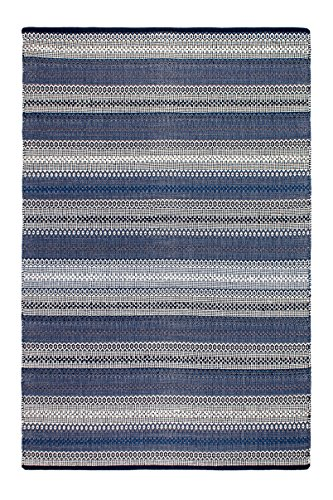Fab Habitat Reversible Cotton Area Rugs Rugs for Living Room, Bathroom Rug, Kitchen Rug Machine Washable Ethos – Blue 3 x 5