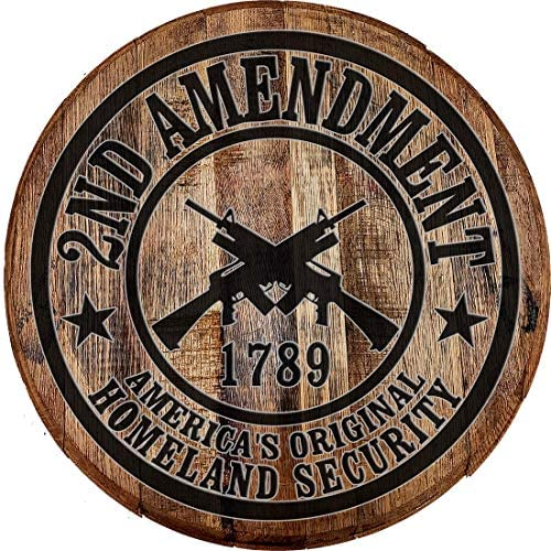 Whiskey Barrel Head 2nd Amendment America's Original Homeland Security Wall Decor Bar Sign Man cave Accessorie