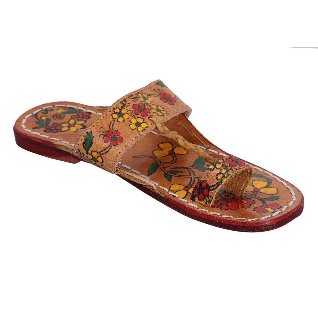 INDCROWN Hippie Indian Water Buffalo Jesus Sandle 100% Leather Kolhapuri Flat Flower Print Woman Sandle B07F776RN3 8 B(M) US|Yellow