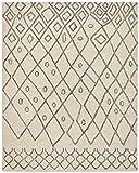 Rivet Geometric Boho Bohemian Wool Area Rug, 5 x 8 Foot, Cream