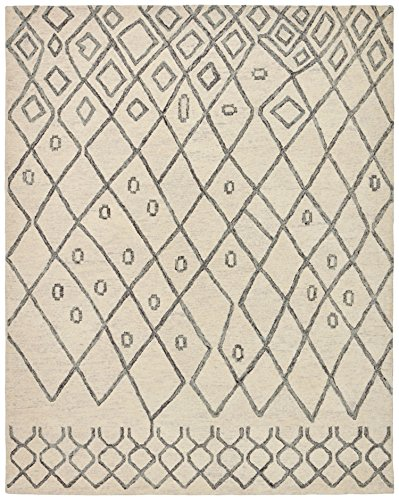 Rivet Geometric Boho Wool Rug, 5' x 8', Cream