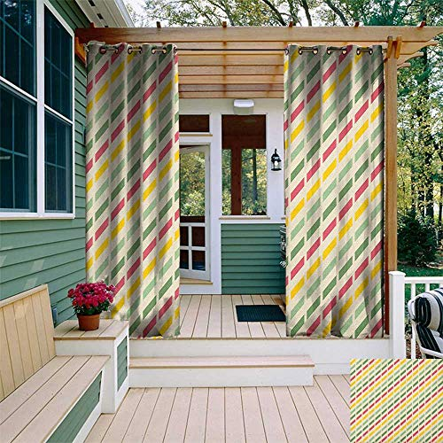 leinuoyi Retro, Outdoor Curtain Extra Long, Colorful Retro Cut Lines Diagonal Pattern in Pastel Colors Simplistic Summer Inspired, Fabric by The Yard W120 x L108 Inch Multicolor