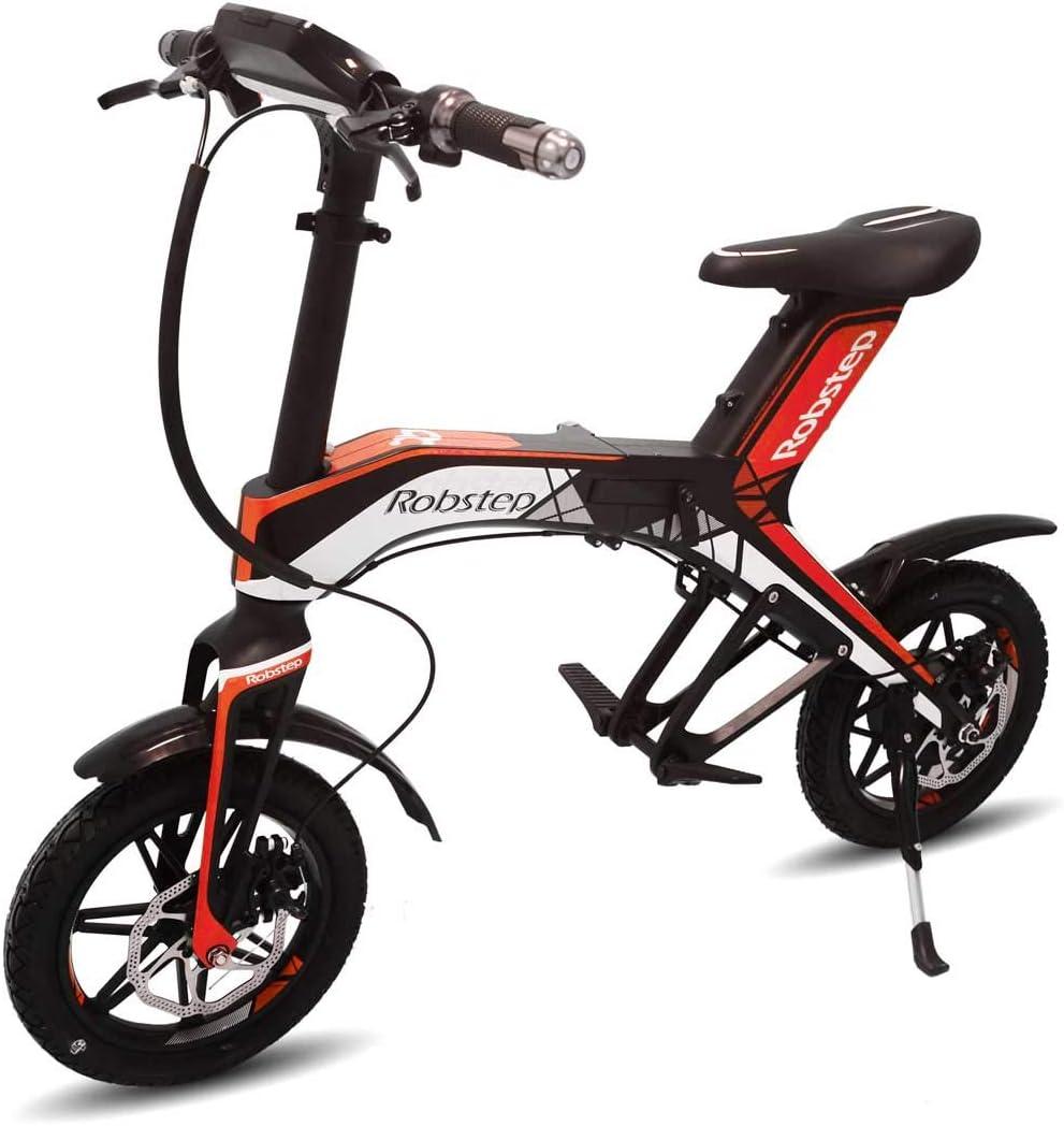 """Robstep Bicicleta Eléctrica Plegable 14"""",Bocina Bluetooth y USB ..."""