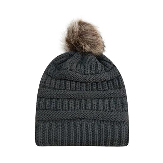 0e01035ace2 PASATO Sale!Women Winter Warm Crochet Knit Faux Fur Pom Pom Beanie ...