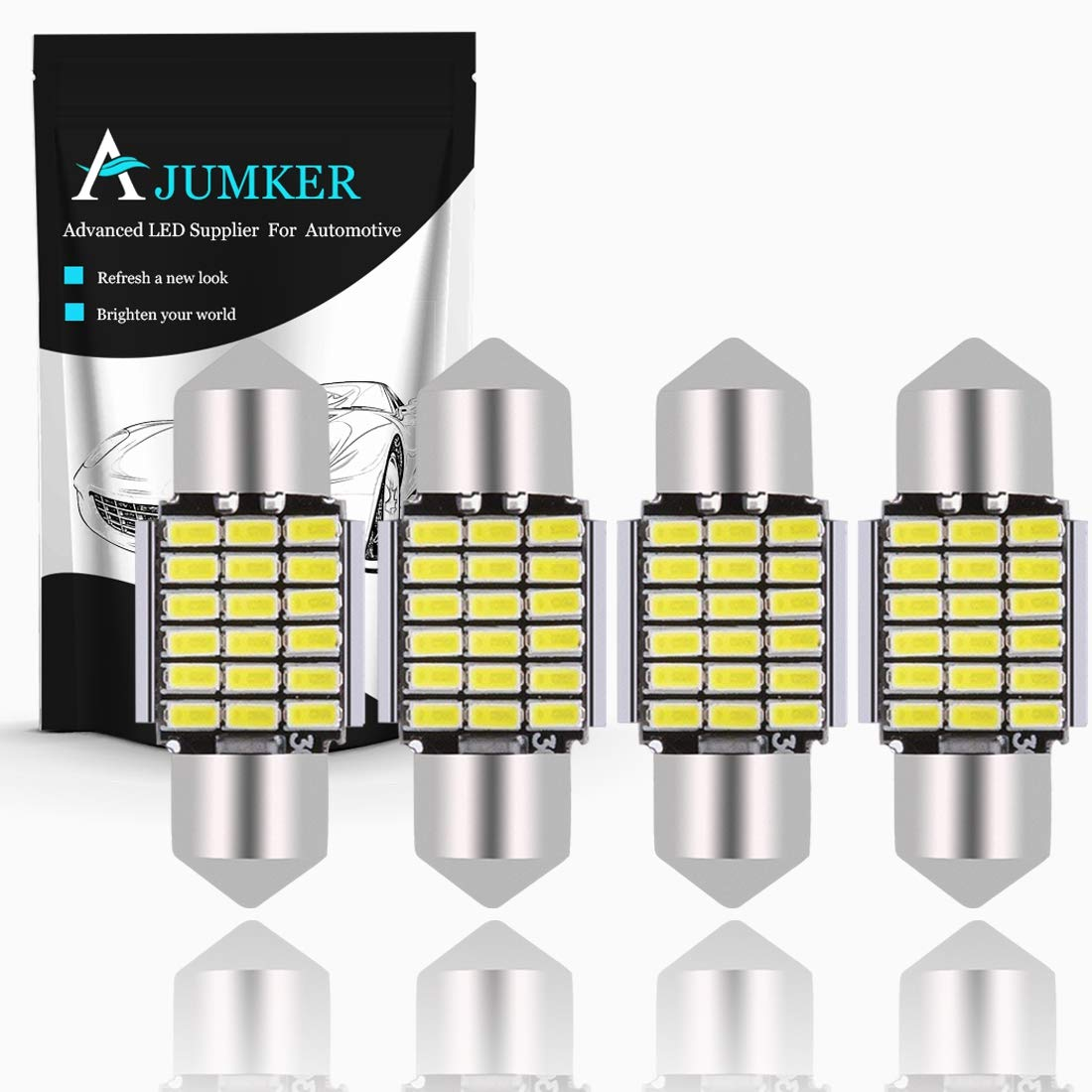 AJUMKER Extremely Bright 3014 Chipsets Aluminum CanBus Error Free 1.53'' 39mm C5W DE3423 DE3425 3423 3425 6411 6418 LED Festoon Car Interior Dome Map License Plate Lights 6500K Xenon White 12V (Pack of 4)