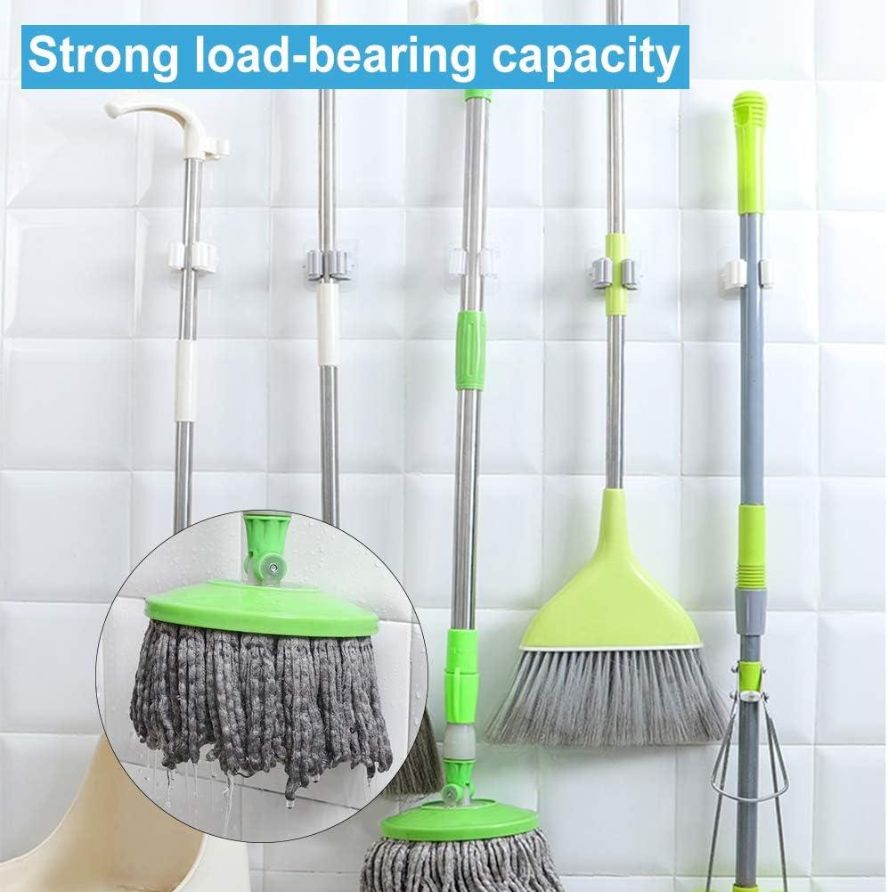 YUIP 5 Pcs Mop Broom Holder,Tool Holder,Wall Mounted Broom Mop Holder Clear Self-Adhesive Reusable No Drilling Broom Gripper Mop/&Broom Storage Rack Organizer