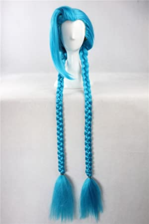 Peluca azul larga con trenzas 135 cm, Cosplay League of Legends Jinx –