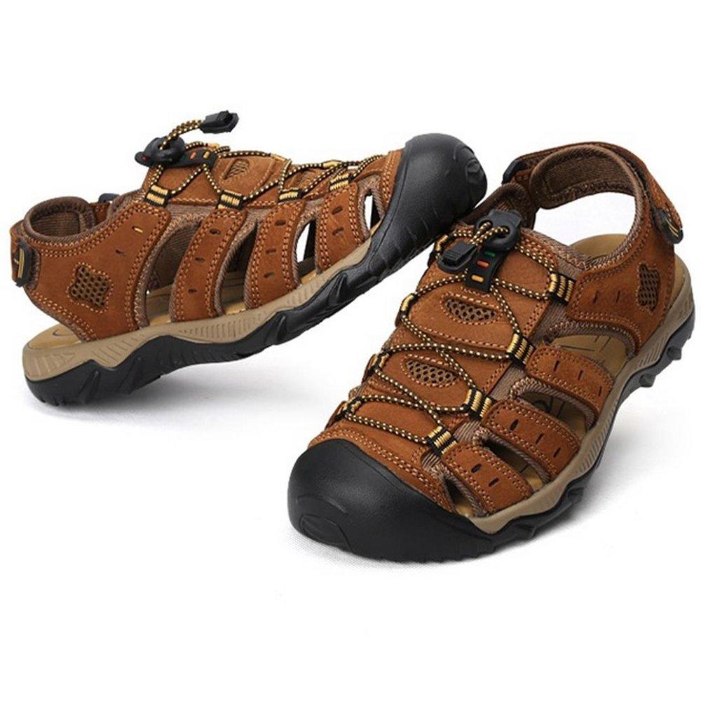 RVROVIC Leather Strap Men's Sandals Summer Gladiator Shoes US 6.5- US 12 Plus Size 3 Colors (US Size 9, Brown)