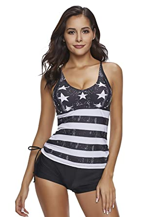 e76729ee70fb0 Reteron Women s Plus Size 2 Pieces Stripe Print Boyshort Tankini Swimsuit  (Star Print