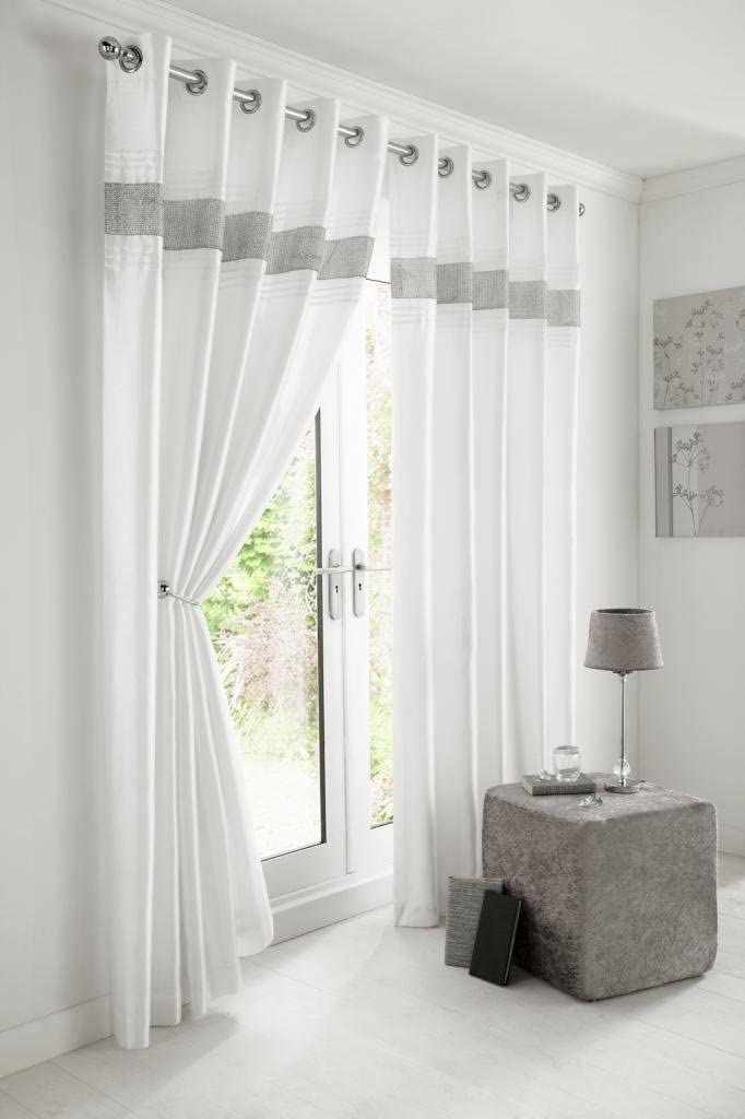 Kimberley White Faux Silk Fully Lined 66 x 72 Inch Drop Pair Curtainswith Strips of Dazzling Diamante, White White 66 x 72 Inch