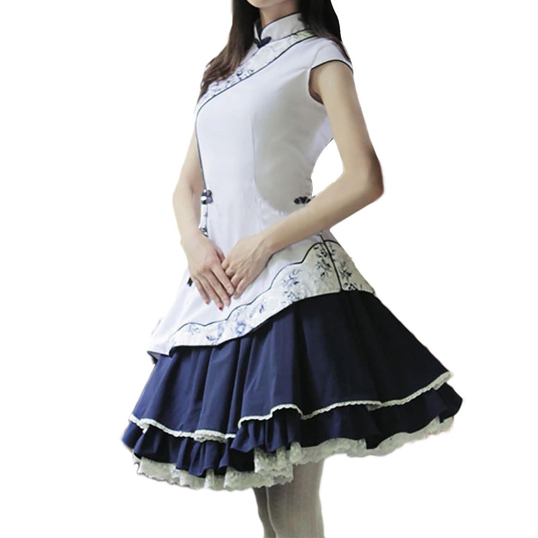 Partiss Damen Frauen Weisse Stehkragen Stickerei Stoffdruck Chinesische Mini Bubble Multi Layer Lolita Kleid Cocktailkleid