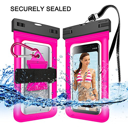 "Price comparison product image Innens Waterproof Case, Waterproof Bag, Universal Snowproof Dry Bag with Clip Armband Neck Strap Touch Screen for Phone Below 6.0"" (Rose Red)"