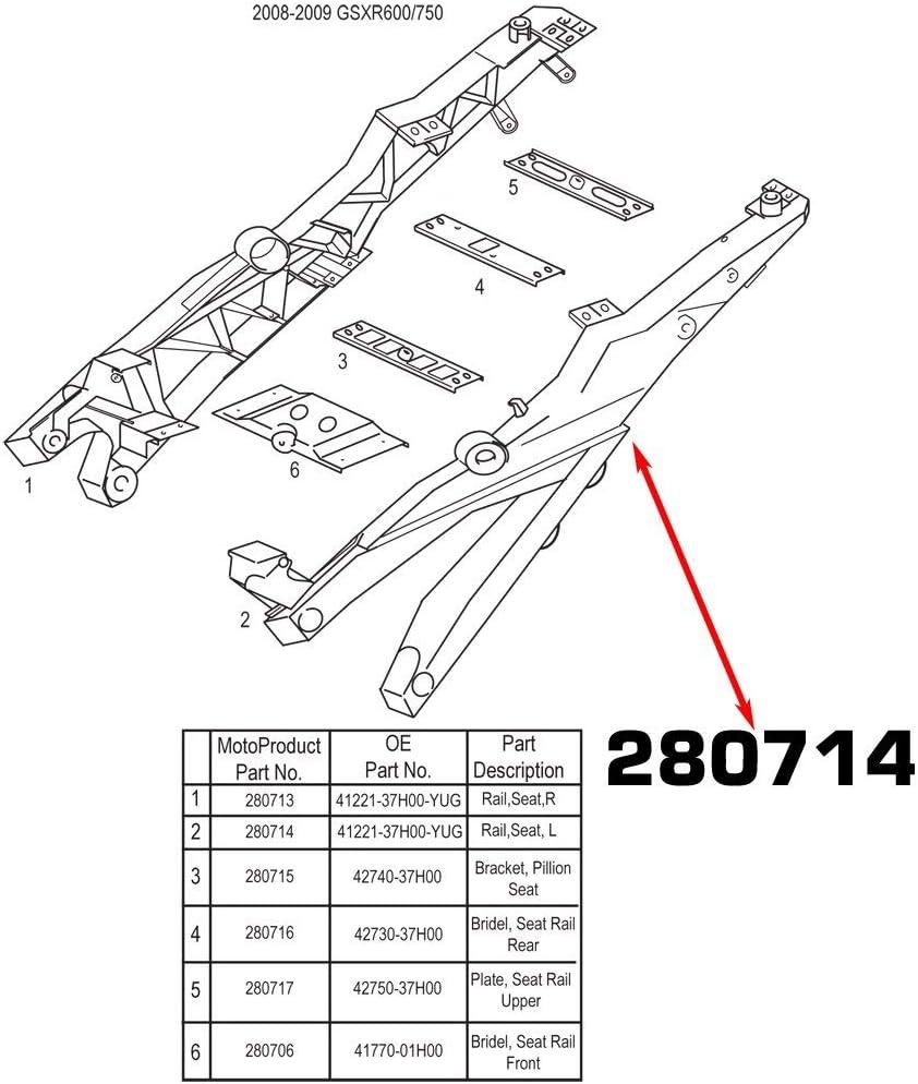 MotoFrames Suzuki Subframe Right Seat Rail OEM Part# 41211-37H00-YUG Fits 2008 2009 GSXR600 750