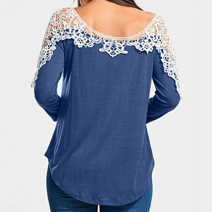 Belasdla Elegante Camisa De Manga Larga Collar De Una Palabra Encaje Costura Top: Amazon.es: Ropa y accesorios