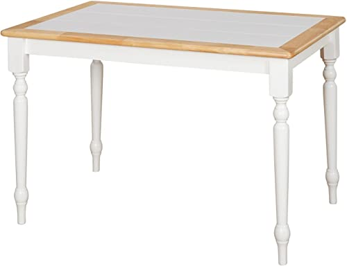 Target Marketing Systems The Tara Collection Traditional Style Tile Top Kitchen Dining Table, White Natural