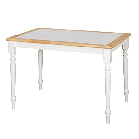 Target Marketing Systems The Tara Collection Traditional Style Tile Top  Kitchen Dining Table, White/