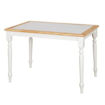 Target Marketing Systems The Tara Collection Traditional Style Tile Top Kitchen Dining Table White Natural