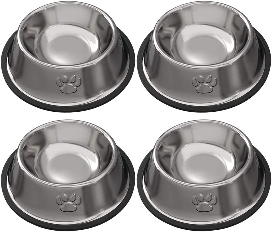 Rapsrk Stainless Steel Dog Cat Bowls for Small/Medium/Large Dogs,Cat Kitten Rabbit Dish with Rubber Base , Pets Feeder Bowl and Water Bowl Perfect Choice (4Pack)